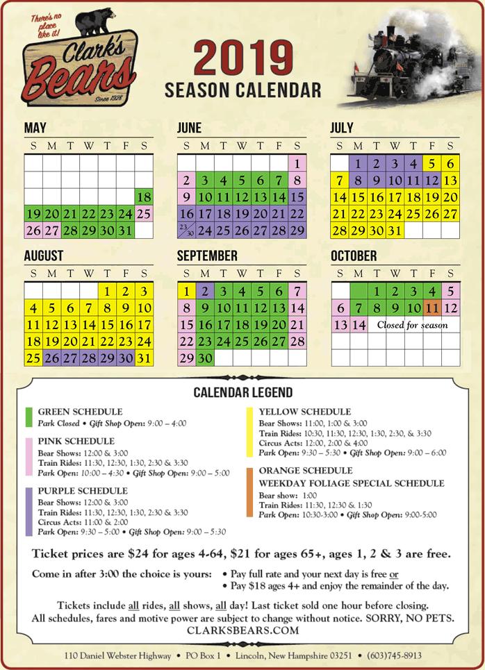 calendar schedule clark s trading post