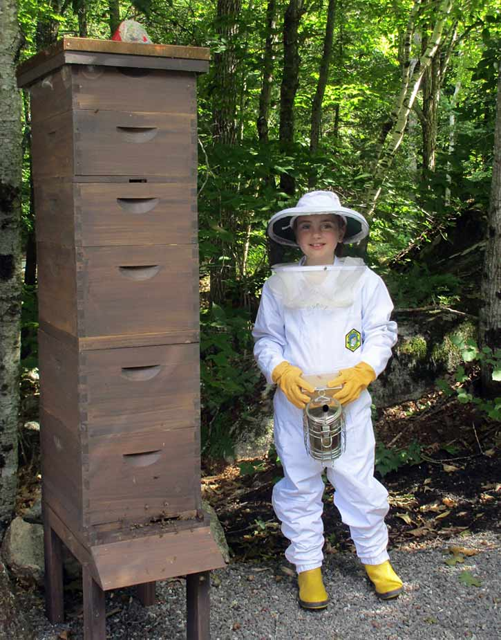 Isabella Messer with her hive