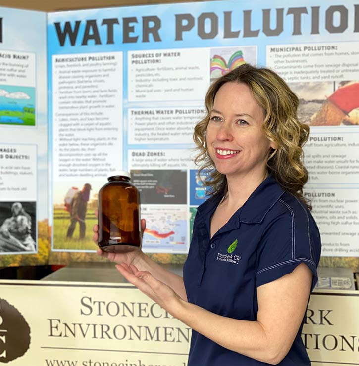 Sylvia Clark discussing water pollution