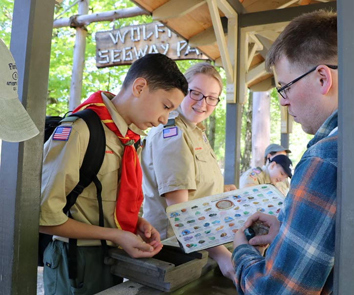 Scouts identifying gemstones